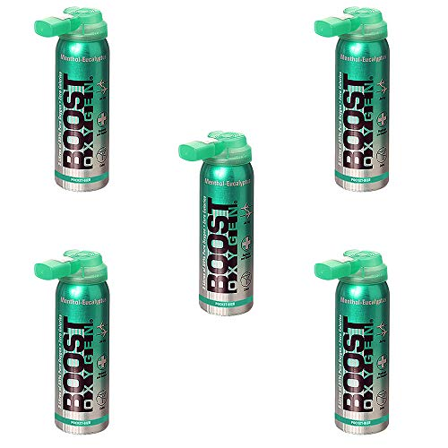 Boost Oxygen Natural Menthol Portable Canister Inhaler Bottle 2 Liters (5 Pack)