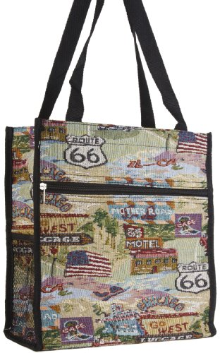 Route 66 Theme Tapestry Travel Tote Bag with Coin Purse, Bags Central