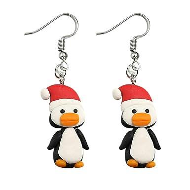 Gusspower 1 Par Pendientes De Dibujos Animados De Navidad Pingüino