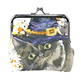 Coin Purses Halloween Cat Witch Hat Kiss-lock Buckle Vintage Clutch Cosmetic Bags