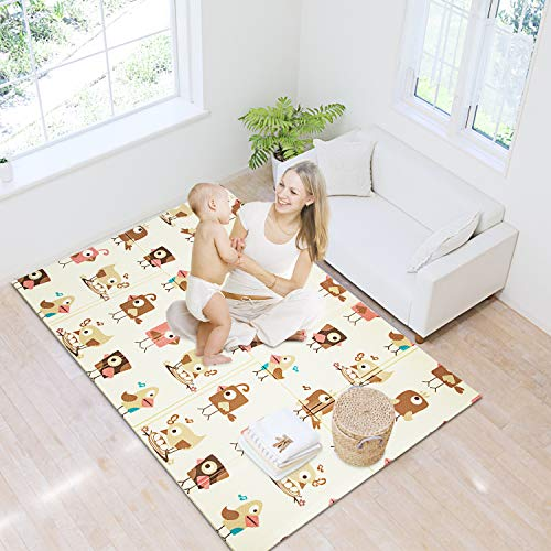 Baby Folding Playing Mats Extra Large Infant Foam Playmat Play Mat Rug Crawl Mat Reversible Waterproof Anti-skid Portable Double Sided Kids Baby Toddler Outdoor, Indoor Non Toxic, Colorful 57x76x0.4in