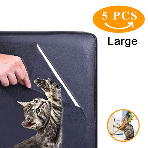 (Z-H-C 5 Pack (12x17Inch) Furniture Protectors from Cats, Pet Couch Protector, Cat Dog Claw Guards Self-Adhesive Pads + Twist pins, Cat Dog Claw Guards for Sofa, Walls, Doors- Cat Scratch Deterrent)
