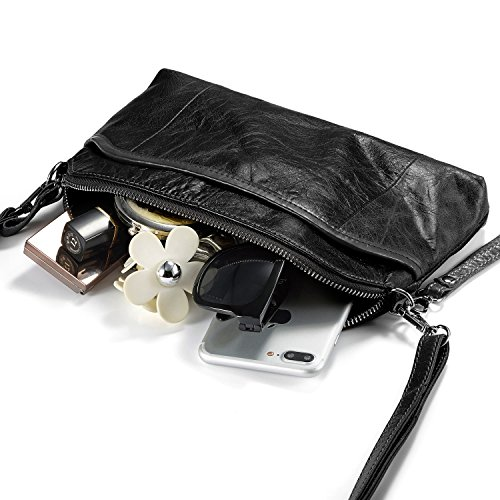 Black Smartphone Women's Vintage Purses Women Bag for Lecxci Shoulder Leather Small Coffee Crossbody Travel CawnxAqAOX