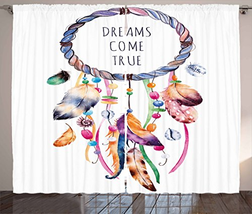 """Ambesonne Feather Curtains, Dream Catcher Illustration Bohemian Style Image, Living Room Bedroom Window Drapes 2 Panel Set, 108"""" X 90"""", White Blue"""