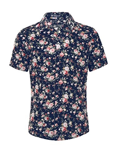 uxcell Men Casual Cotton Slim Fit Floral Print Short Sleeve Button Down Shirt Navy Blue M US 38