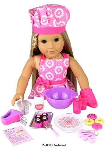 click n 39 play doll baking set with apron and chef hat perfect for 18 inch american girl dolls. Black Bedroom Furniture Sets. Home Design Ideas