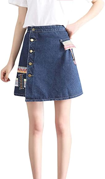Mini falda corta mujer y niña, QinMM falda vaquera floral vaquera ...