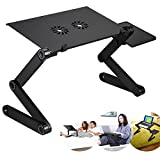 AlexBasic Portable Laptop Stand-Kapoo Portable Laptop Desk Foldable Laptop Stand Adjustable Laptop Table Ergonomic Bed Tray with 2 CPU Cooling Fans Extra Mouse Pad Side