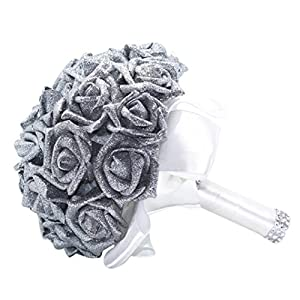 Clearance Bridesmaid Bouquet Crystal Roses Pearl Wedding Bouquet Bridal Artificial Silk Flowers Decor (Silver) 50