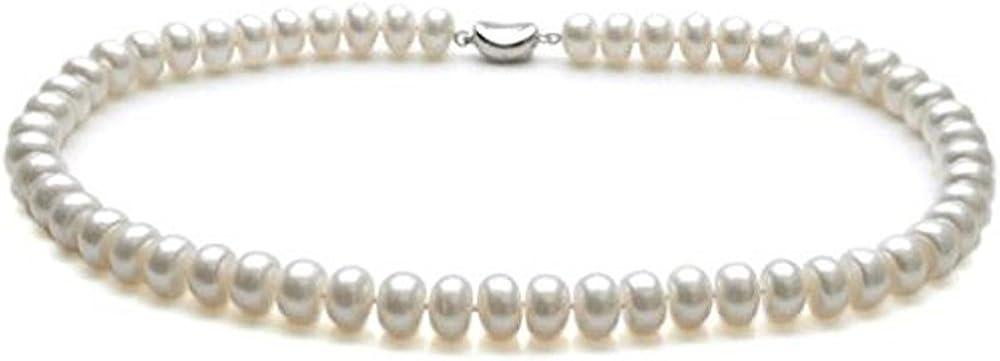 treasurebay AAA Collar de perlas cultivadas en agua dulce, 8-9mm, color blanco, tamaño: 46 cm