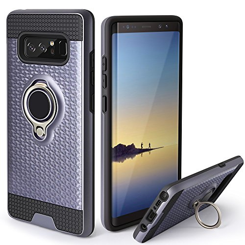 Galaxy Note 8 Case,Jelanry Ring Holder Phone Mount Stand Cover Note 8 Case Kickstand Shell Impact Resistant Dual Layer Armor Hybrid Protective Soft Bumper Case for Samsung Galaxy Note 8 Grey