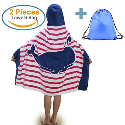 100% Cotton Kids Hooded Beach Bath Towel and Bag Set for Girls Ocean Pink Whale Pattern 4-14 (Hooded Bath Towel Pattern)