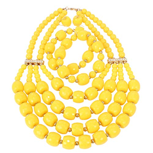Jewelry Set Yellow Beaded (KOSMOS-LI Women's Popular Beaded Yellow Layered Statement Necklace Bracelet Earrings Set)