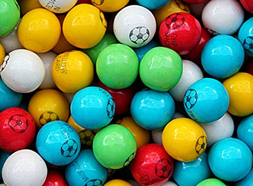 Gumballs for Gumball Machines - Soccer - 1 inch box of 15 lb of one-color chewing gums - Fresh Gumballs for Bulk Vending Machines - Gumball Machine Refills - Fruit Gumballs 25 mm 850 Count