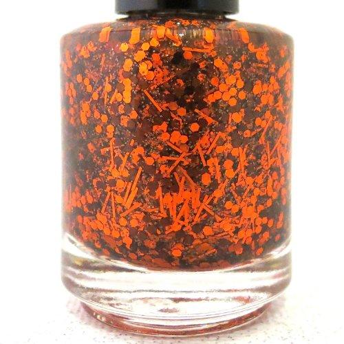 Pumpkin Smashing Nail Polish - Orange Brown Glitter Nail Polish by Rainbow (Paint Halloween Pumpkin Nails)