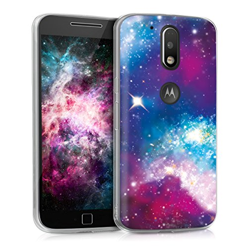 kwmobile Case for Motorola Moto G4 / Moto G4 Plus - TPU Silicone Crystal Clear Back Case Protective Cover IMD Design - Multicolor/Dark Pink/Black