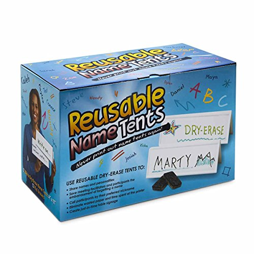Reusable Dry- Erase Name Tents and Mini erasers, Boxed Set of 12