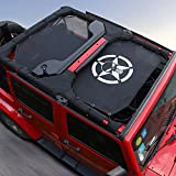 Black Durable Sunshade Mesh Top Cover Provides UV Sun Shade Protection for 2007-2017 Jeep Wrangler JKU 4 Door Skull