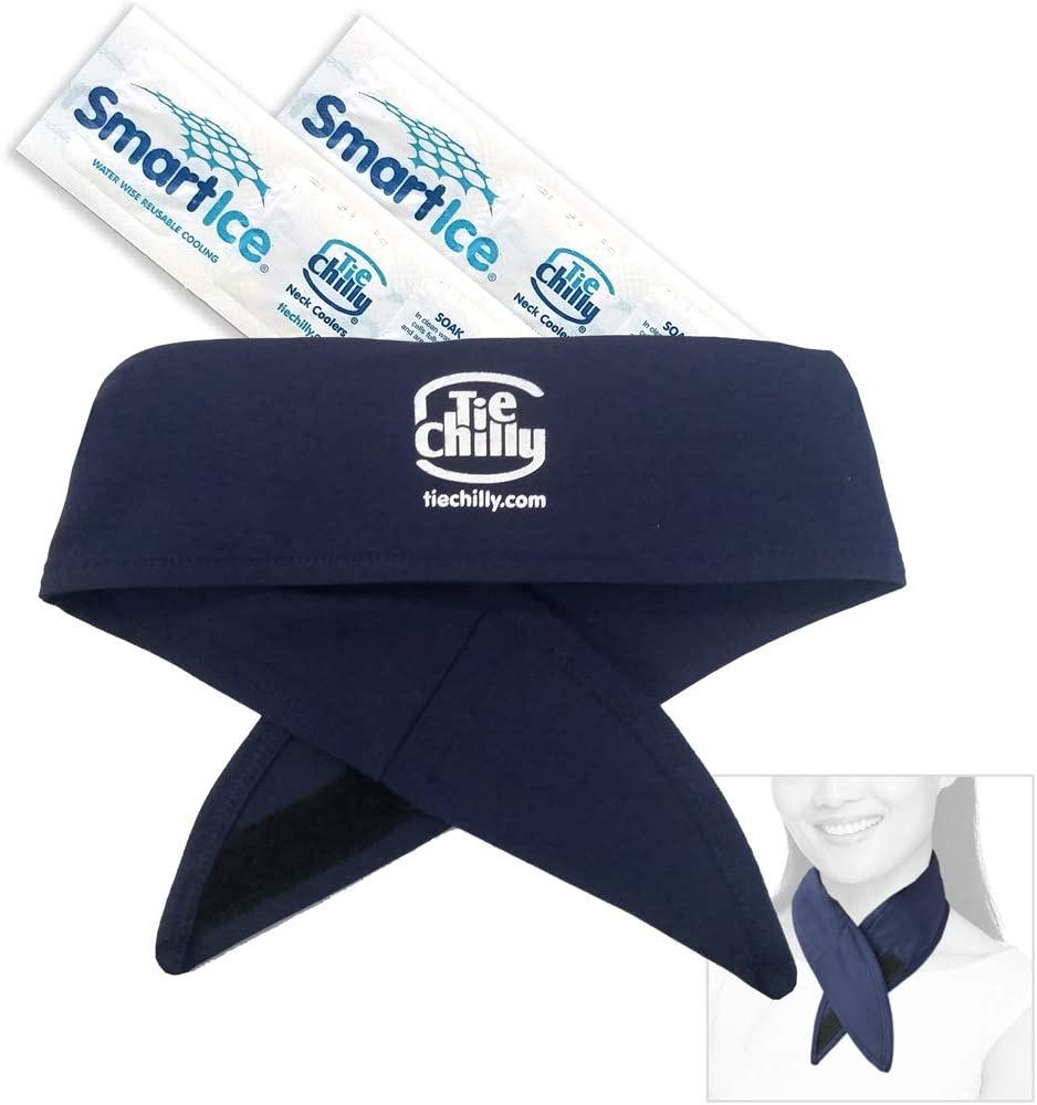 Tie Chilly Ice Cool Neck Cooler Bandana, with 2 Smartice® Cooling Strips, Enabling prolonged Cool Comfort at Home, Work or Play. (Navy with Logo)