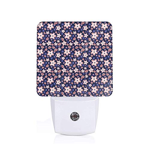 Colorful Plug in Night,Pastel Colored Doodle Flowers Blooming Foliage Leaves On A Dark Background,Auto Sensor LED Dusk to Dawn Night Light Plug in Indoor for Childs Adults -