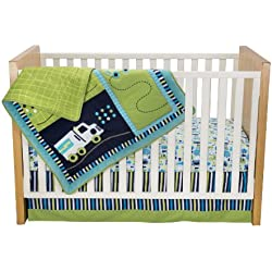 Zutano Crib Bedding Set, Traffic, Boy's 4 Piece car, truck