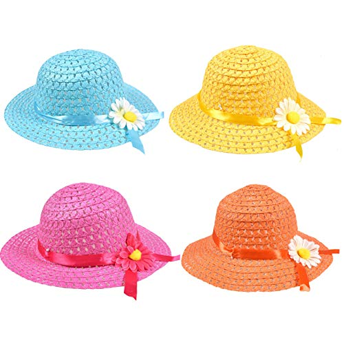 Timoo Tea Party Hats for Girls Easter Hat Colorful Princess Dress-up Straw Hats for Kids, 4 -