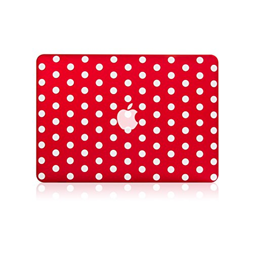 TOP CASE - Polka Dot Design Ultra Slim Light Weight Rubberized Hard Case Compatible with Apple MacBook Air 13 Model: A1369 and A1466 - Not Compatible 2018 Version A1932 Retina Display - Red