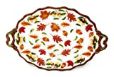 "Temp-tations Elegant Platter Serving Tray 18.5"" x 12"" w/FREE Carving Set (Old World Harvest)"