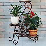 LIZX 3-Tier Iron-Art Flower Rack Indoor Balcony Anti - Rust Plant Stand ( Black / Red Bronze / White) ( Color : Brown )