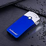 Electric Rechargeable Plasma Arc Lighter – 2017 Stylish Metal Electric Rechargeable USB Flameless Windless Cigarette Plasma Lighter LIFE-TIME WARRANTY(Ice Blue)