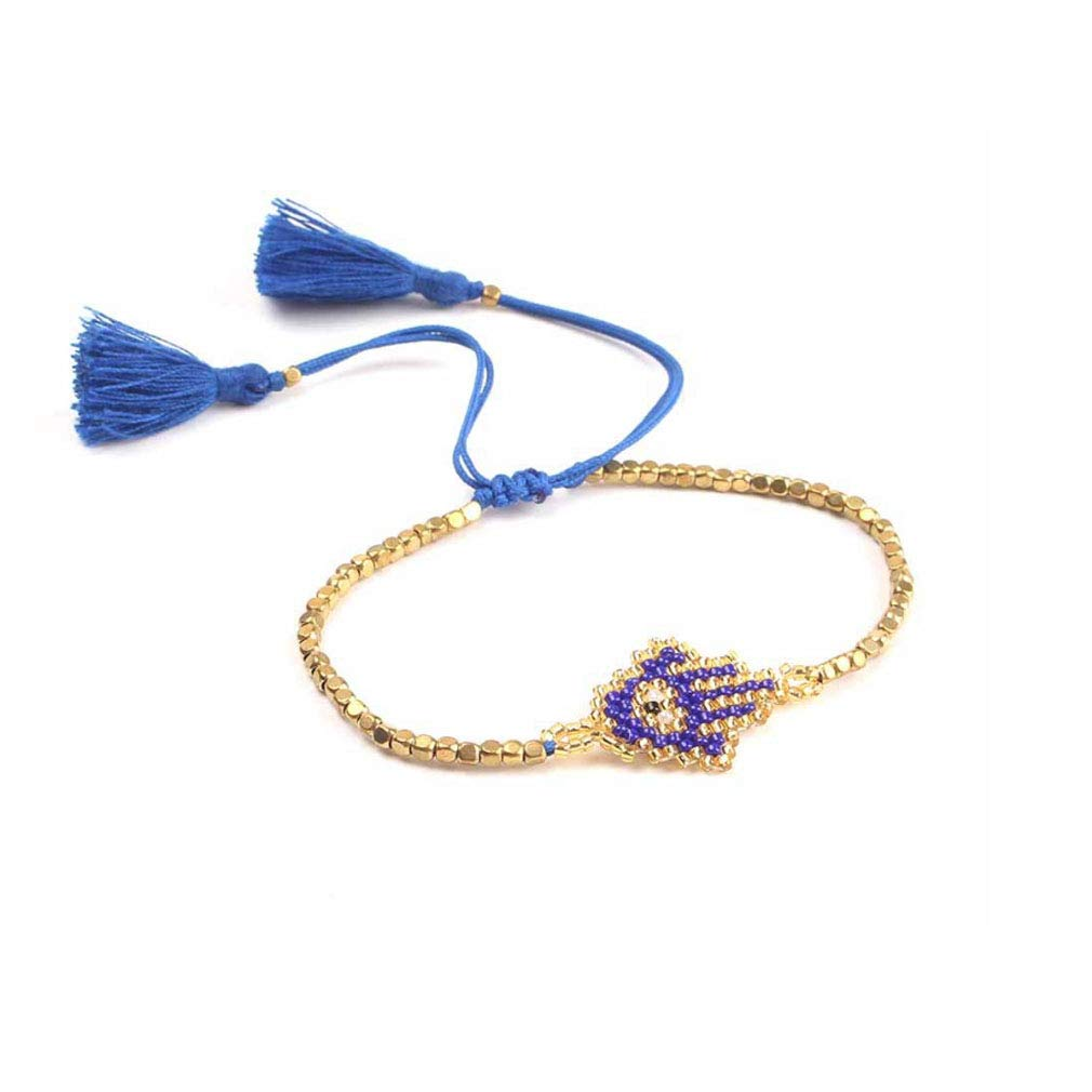 Eye Bracelet For Women Glass Beads Miyuki Seed Beads Bangles Amulet Jewelry Friendship Gift DIY Charms (Blue)