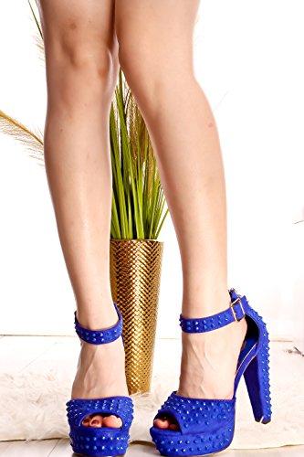 Sandali Tacco Alto Stile Couture Lolli Open Toe Blu