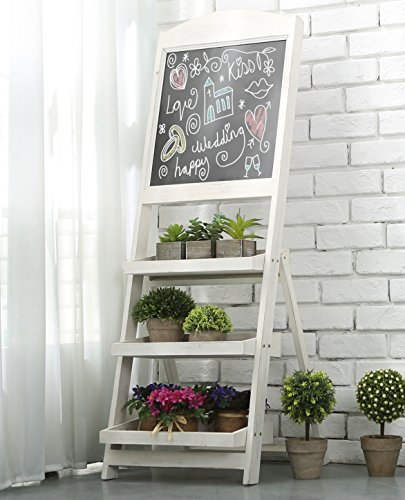 MyGift Vintage White Freestanding Wooden Chalkboard Easel with 3 Display Shelves