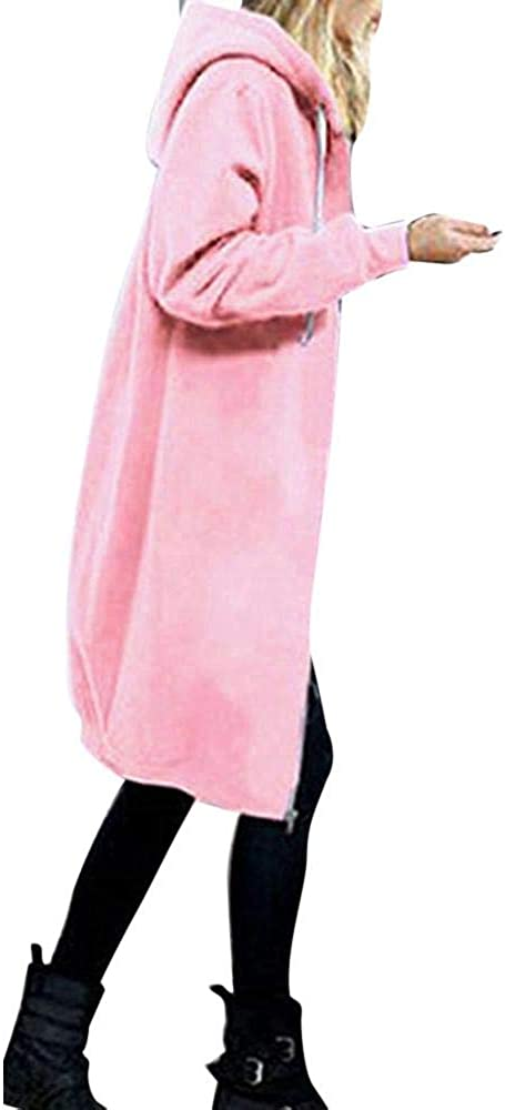 HGWXX7 Womens Warm Plus Size Zipper Open Hoodies Sweatshirt Long Coat Jacket Tops Outwear S~5XL