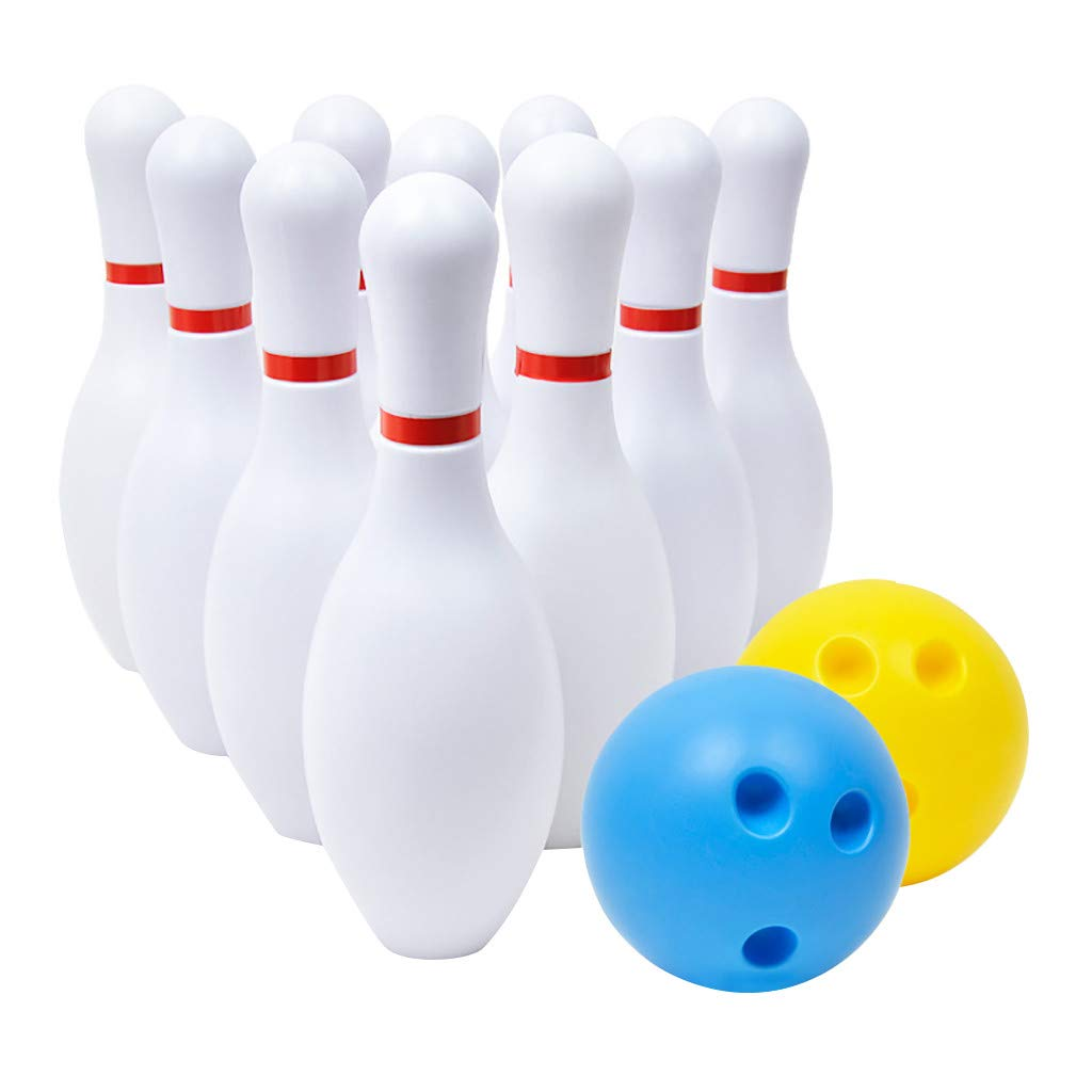 UCQueen Toys Bowling Game Toy Set Yard Games Sport Family Fun Games Kids Indoor Outdoor Bowling Games for Children Toddlers Boys Girls for Early Development Sport Preschool (White, Free Size)