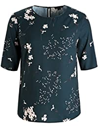 7e7d939ea12 iDWZA Fashion Women Floral Printed Belted Surplice Peplum Blouse V-Neck Tops  Plus Size White )