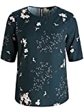 Chicwe Women's Plus Size Floral Printed Blouse with Keyhole Neck - Casual and Work Top 4X