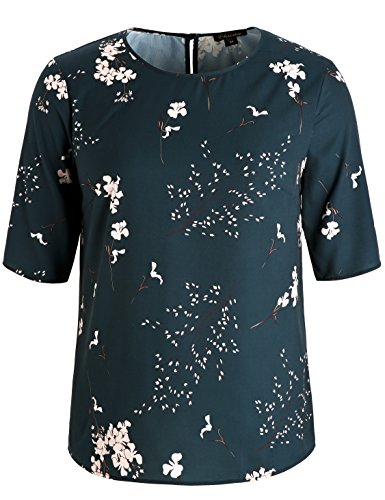 fd0e6a030e1 Chicwe Women s Plus Size Floral Printed Blouse with Keyhole Neck - Casual  and Work Top