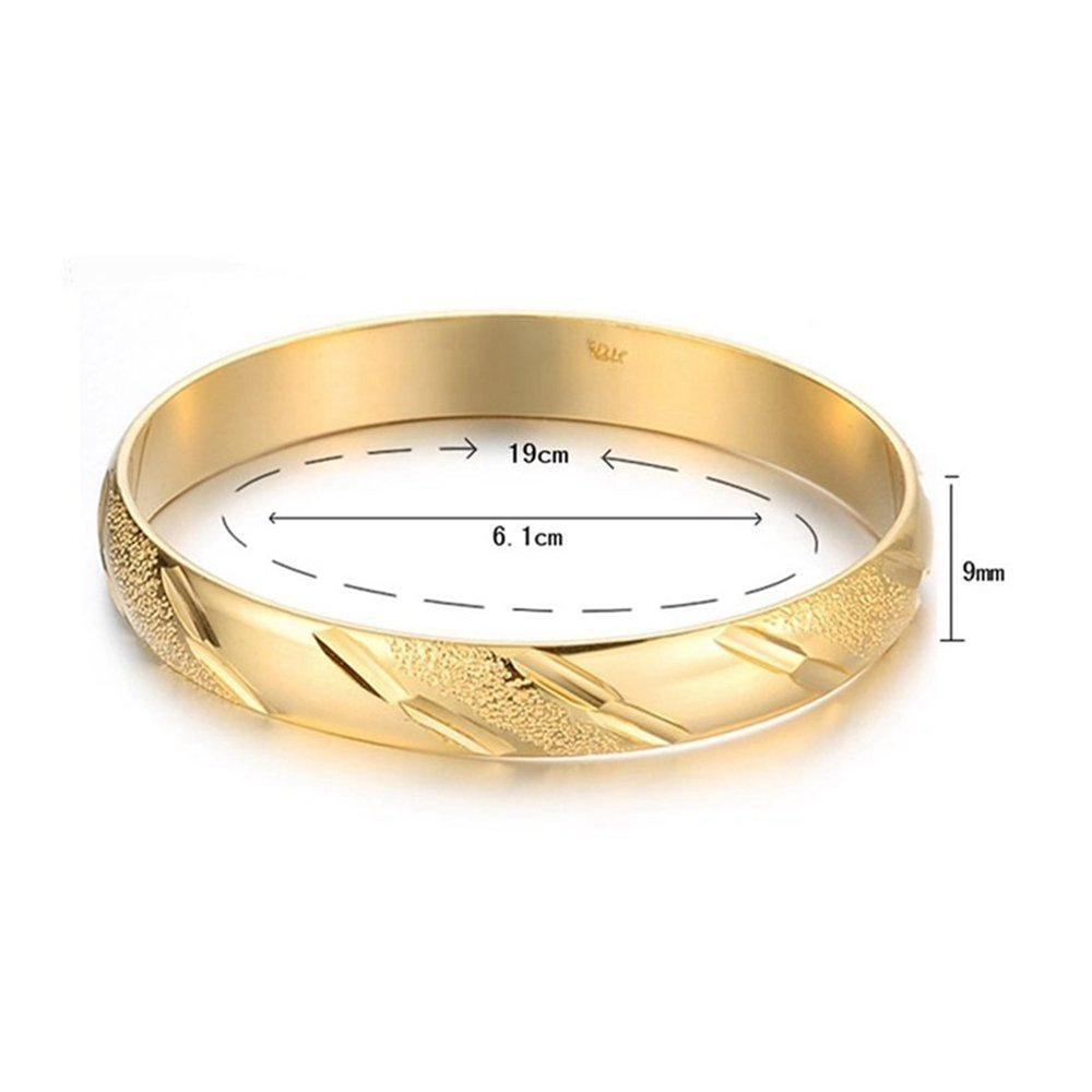 Skyjewelry Carved Solid 18k Yellow Gold Plated Womens Bangle Bracelet