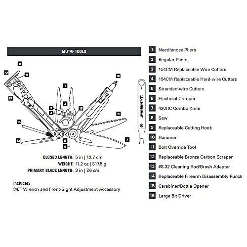 037447268120 - Leatherman - MUT Multi-Tool, Black with Molle Brown Sheath carousel main 1