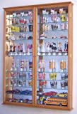 XL Shot Glass Display Case Rack Holder Cabinet w/ Mirror Backed and 11 Glass Shelves -Oak