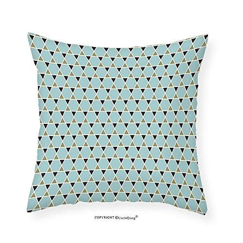 VROSELV Custom Cotton Linen Pillowcase Arabic Hexagons Little Triangles Geometric Tile Pattern Star Shapes for Bedroom Living Room Dorm Brown Pistachio Green Light Blue (Giraffe Daybed)