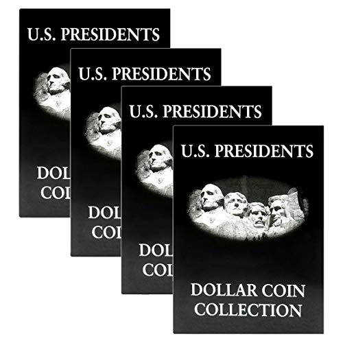 Lot of 4 - US Presidents Dollar Coin Collection Album, Black & White Holds 39 Coins, ()