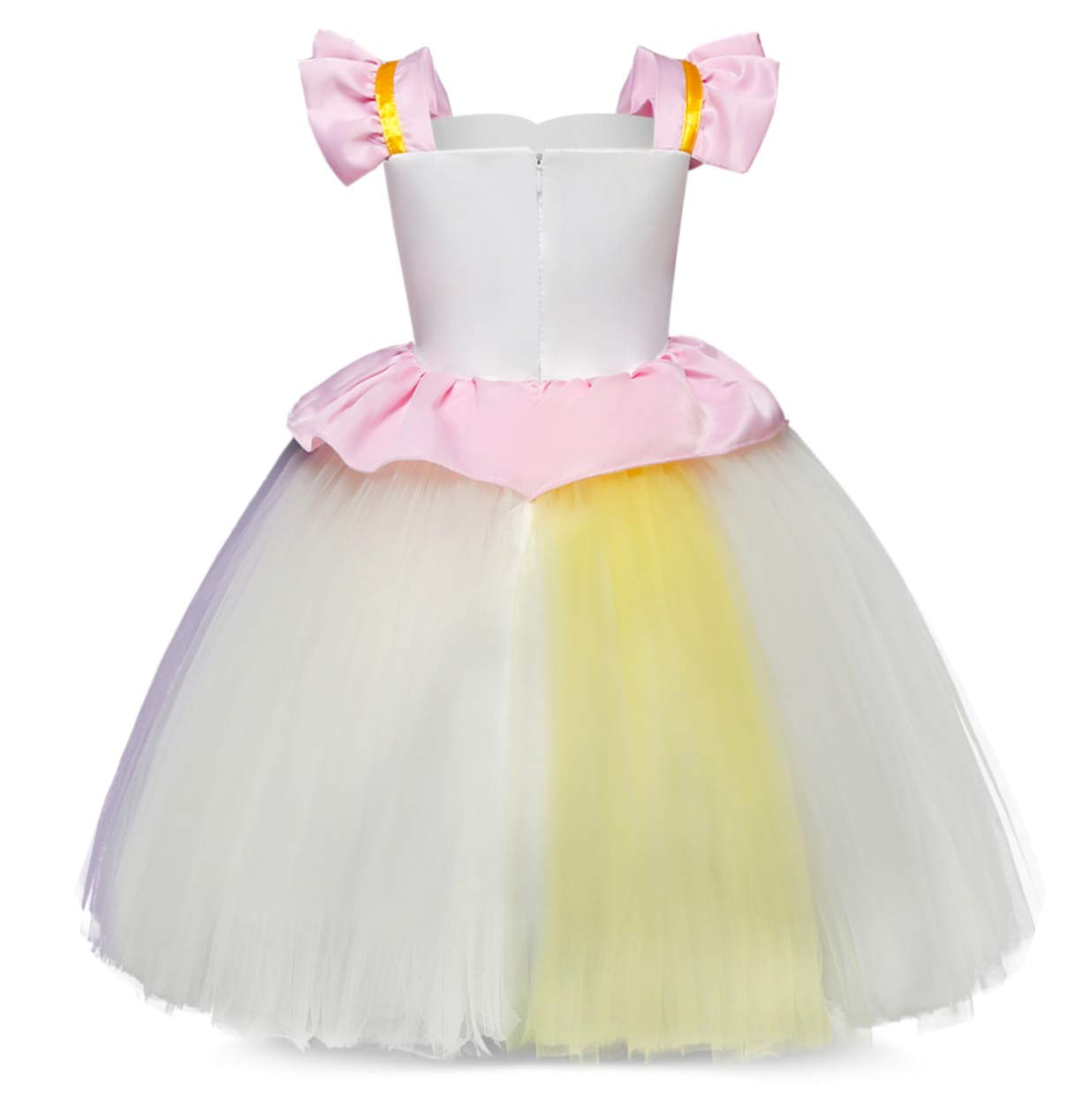 Cotrio Unicorn Costume Fancy Dress Up Flower Girls Dresses Pageant Party Evening Gowns Halloween Tutu Dress 4