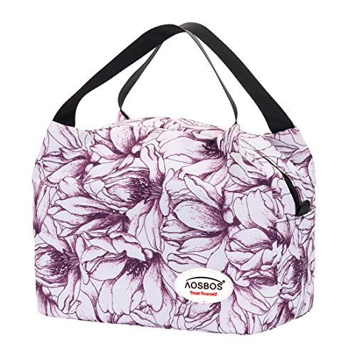 Aosbos Insulated Lunch Bag for Women Lunchbox Tote Food Cooler Box Gift Men Kids (Purple Flower)