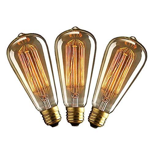 Homesake Edison Tungsten Filament Antique Glass Light Bulbs Vintage Base E27 Bulb Yellow Light for Living Room, Home…