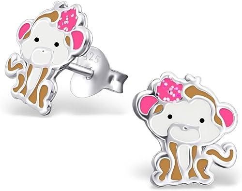 Girls Monkey Colorful Ear Studs 925 Sterling Silver