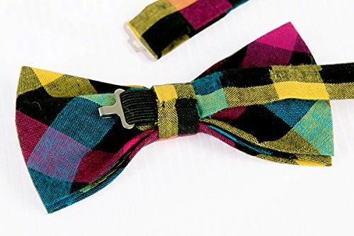 ST34 Brand New Multi-colored Plaid Cotton MENS Tuxedo Bow tie BB-752 4.6x 2.3