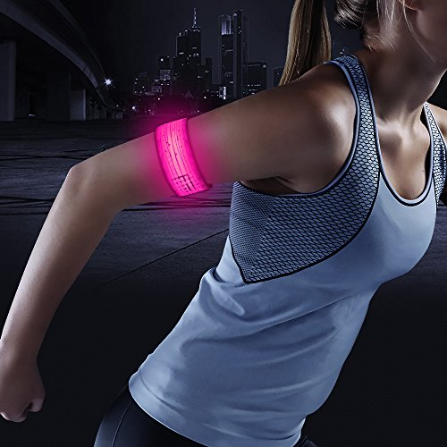 BSEEN LED Armband, 2ed Generation LED Slap Bracelets, Patented Heat Sealed Glow in The Dark Water/Sweat Resistant Glowing Sports Wristbands for Running, Cycling, Hiking, Jogging (Pink-Design Ⅲ)
