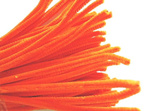 Caryko Super Fuzzy Chenille Stems Pipe Cleaners, Pack of 100 (Orange)
